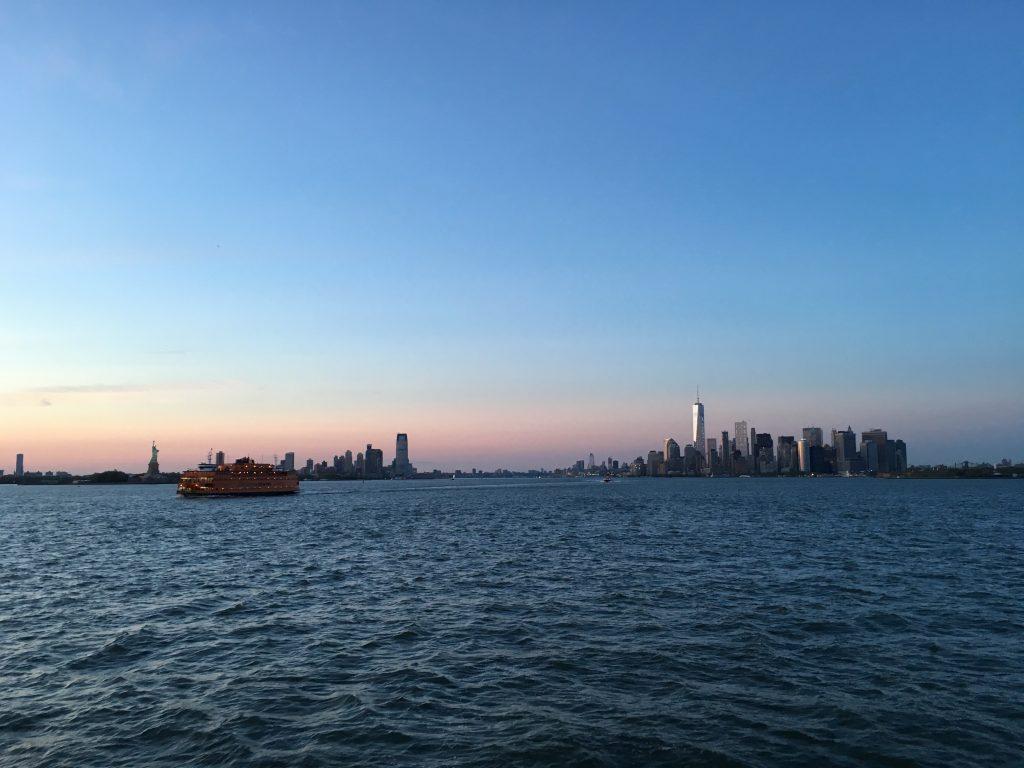 staten island ferry sunset over Manhattan